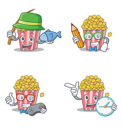 Set of popcorn character with fishing student vector