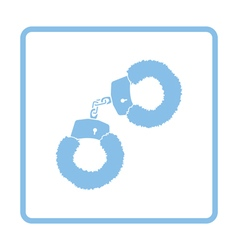 Sex handcuffs with fur icon vector
