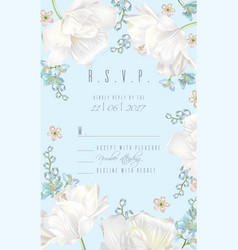 tulip rsvp card blue vector image vector image