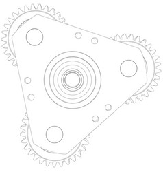 Wire-frame gears front view vector