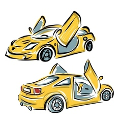 Yellow sport car with lamba doors for your design vector image vector image