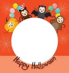 Halloween Cartoon Character On Circle Frame vector image