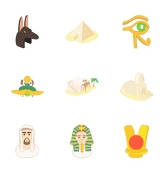 Egypt icons set cartoon style vector