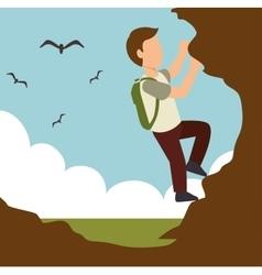 climbing man extreme sport design vector image