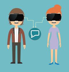 Man and woman chatting via virtual reality glasses vector