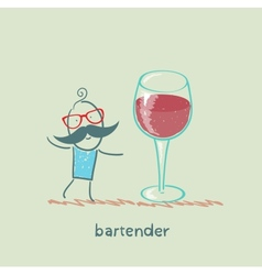 Bartender stands next to a large glass of wine vector