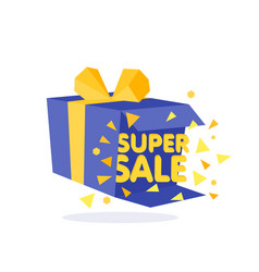 Open blue gift box and confetti sale background vector