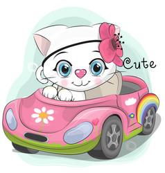 Cute kitten girl goes on the car vector