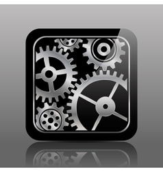 Button black with gears vector