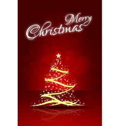 Red Christmas Card with abstract Christmas Tree vector image