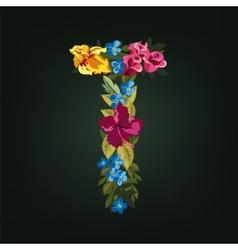 T letter flower capital alphabet colorful font vector