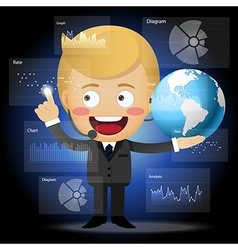 Businessman with globe working with data process vector