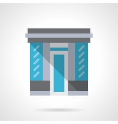 Glass store facade flat color design icon vector