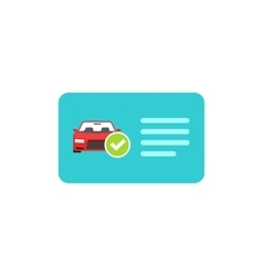 Driver license icon card with car and vector image