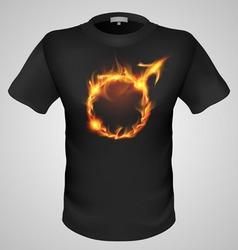 t shirts Black Fire Print man 02 vector image