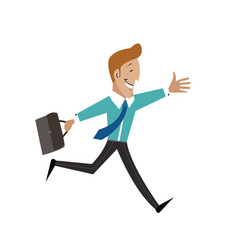 a man with a briefcase is running businessman vector image