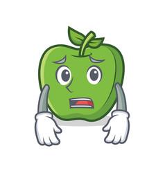 Afraid green apple character cartoon vector