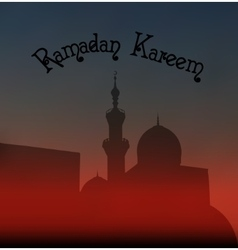 After sunset mosque landscape with beautiful vector image