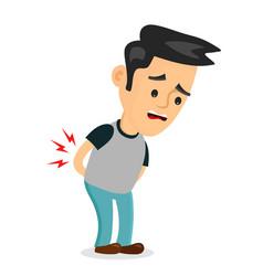 Backache problems flat cartoon vector