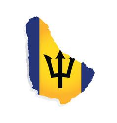 Barbados flag amp map vector