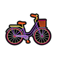 Bike with basket embroidery patch vector