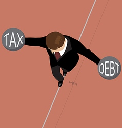 Businessman holding debt weight and tax weight on vector