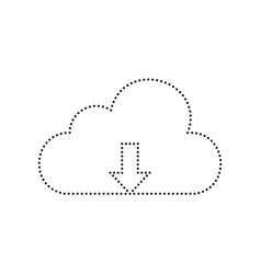 Cloud technology sign black dotted icon vector