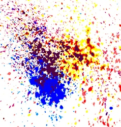 Colorful acrylic paint splatter shiny blob on whit vector