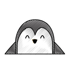Cute penguin face cartoon vector