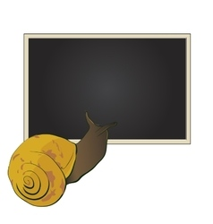 Cute snail looks into a text box vector image vector image