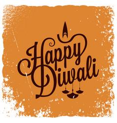 diwali vintage lettering logo background vector image