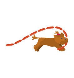 dog has stolen sausages vector image