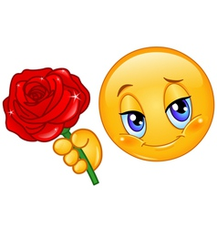 emoticon with rose vector image vector image