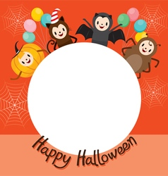 Halloween cartoon character on circle frame vector