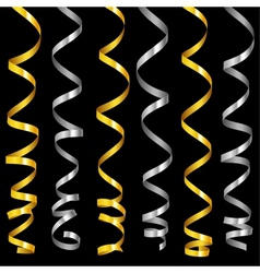 holiday serpentine ribbons set vector image