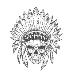 Indian skull with feathers art vector