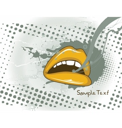 mouth with grunge vector image vector image
