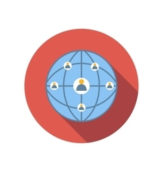 Network connections between people flat icon vector image