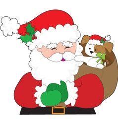 santa and puppy gift vector image