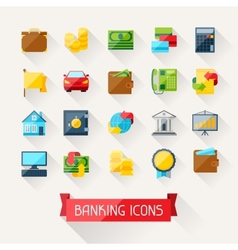Set of banking icons in flat design style vector image vector image