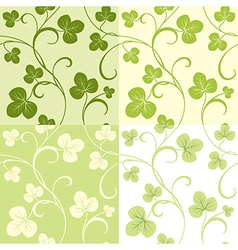 Set of seamless patterns from clover leaves vector