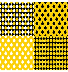 Set yellow black water drops background vector