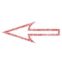 Sharp arrow left fabric textured icon vector