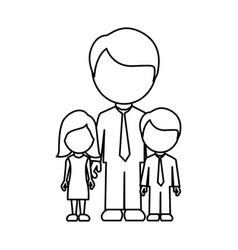 Silhouette man with his children icon vector