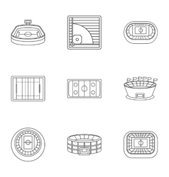 Stadium icons set outline style vector