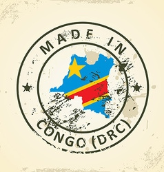 Stamp with map flag of congo drc vector