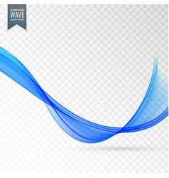Stylish blue wave on transparent background vector