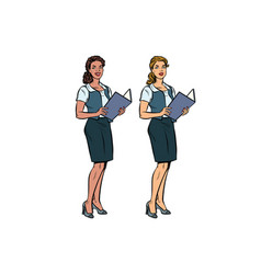 Two women secretary-full-length multi-ethnic vector