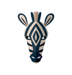 zebra head icon in flat design vector image vector image