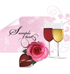 rose wine and chocolate vector image